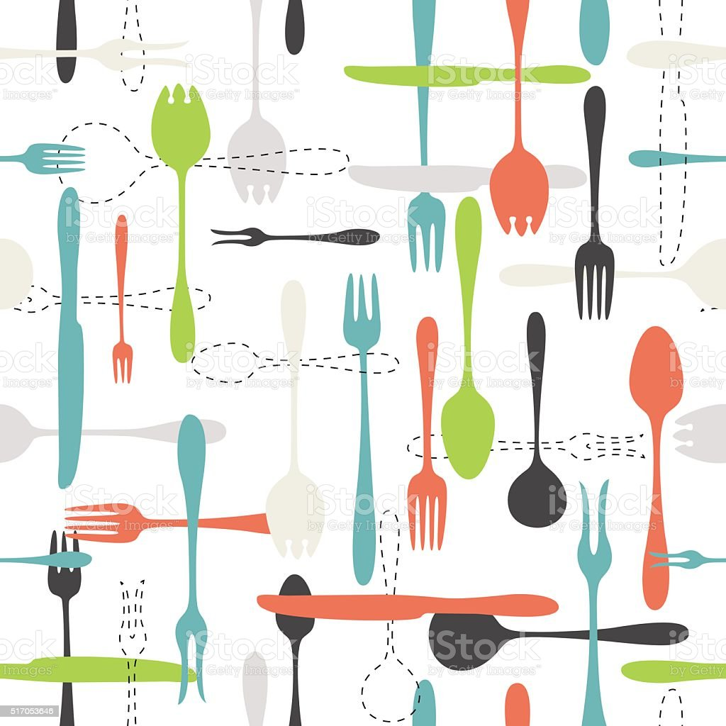 Cutlery icon seamless pattern on white background vector art illustration