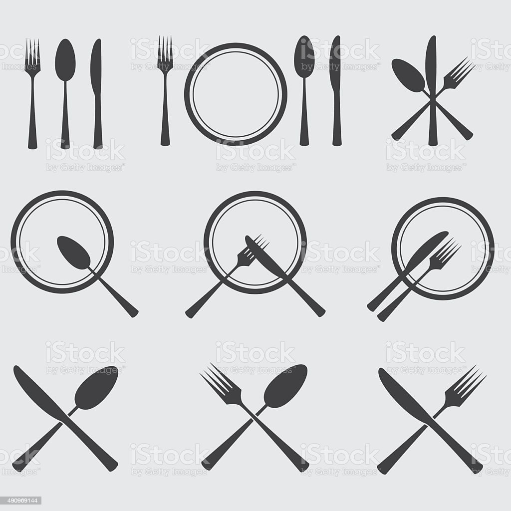 Cutlery Icons Set vector art illustration