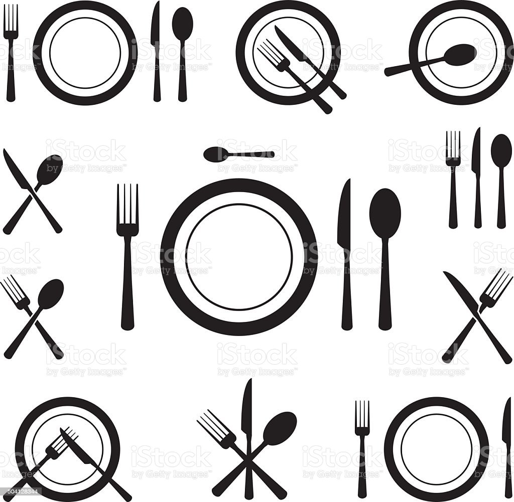 Cutlery Icons vector art illustration