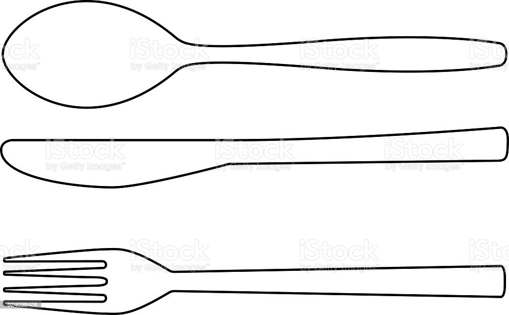 Cutlery outline icon. Knife, fork, spoon vector art illustration