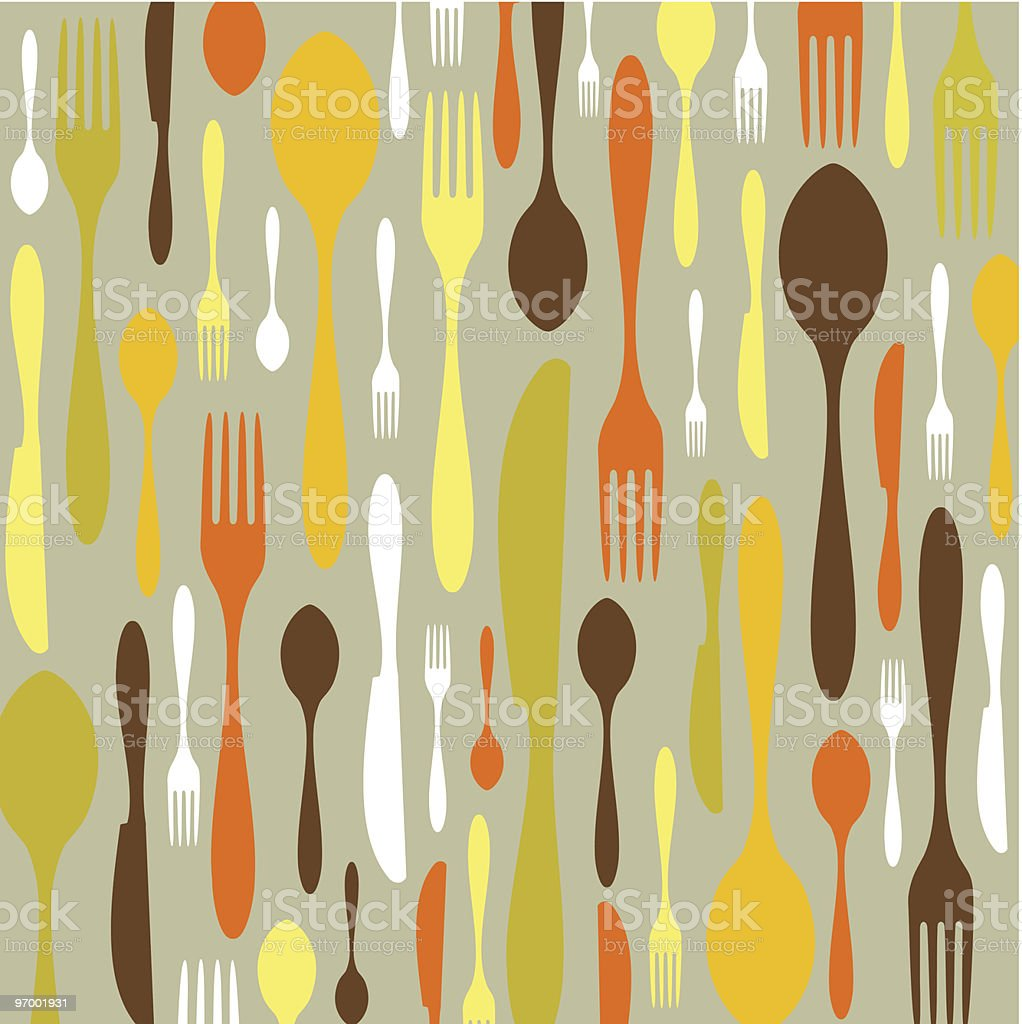 Cutlery pattern in warm colors royalty-free stock vector art