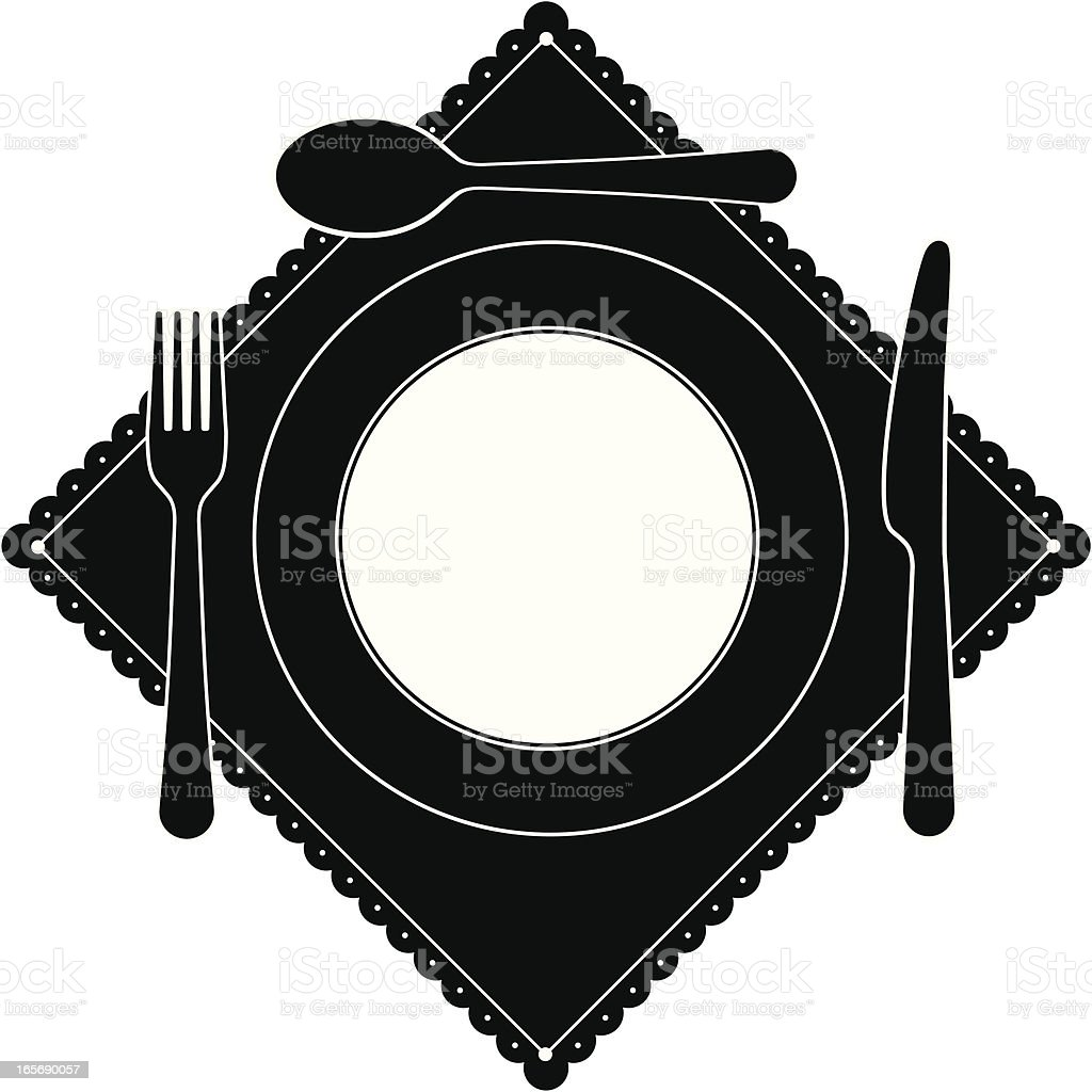 Cutlery Place Setting royalty-free stock vector art