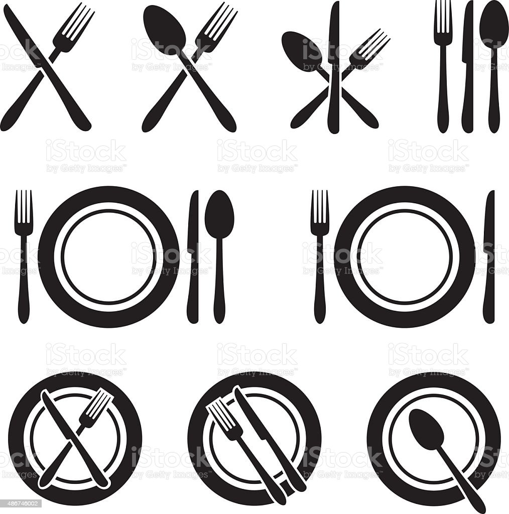 Cutlery Restaurant Icons Set vector art illustration