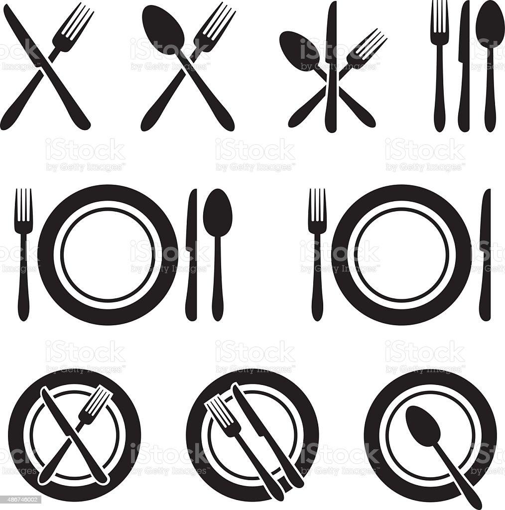Cutlery Restaurant Icons Set vector art illustration