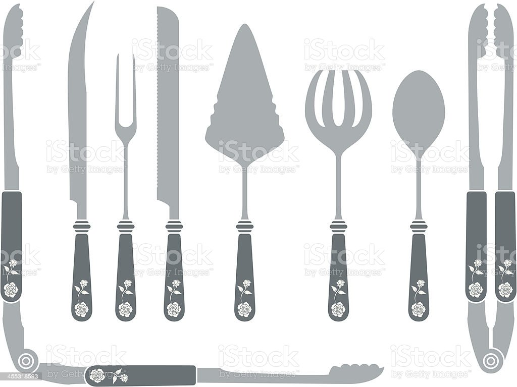 Cutlery Set in a classic antique style with floral pattern royalty-free stock vector art
