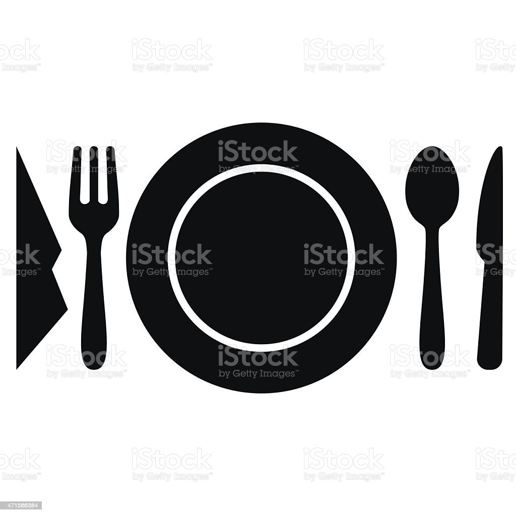 Cutlery setting on table - VECTOR vector art illustration