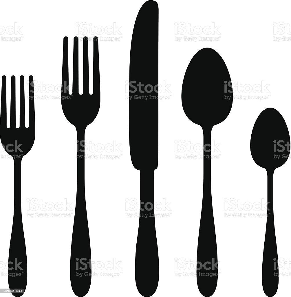 Cutlery Silhouettes vector art illustration