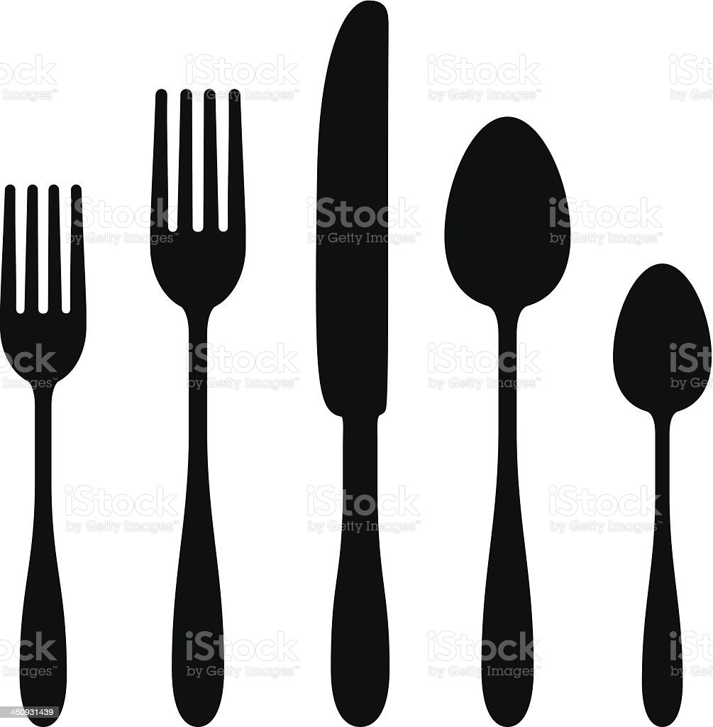 Cutlery Silhouettes vector art illustration