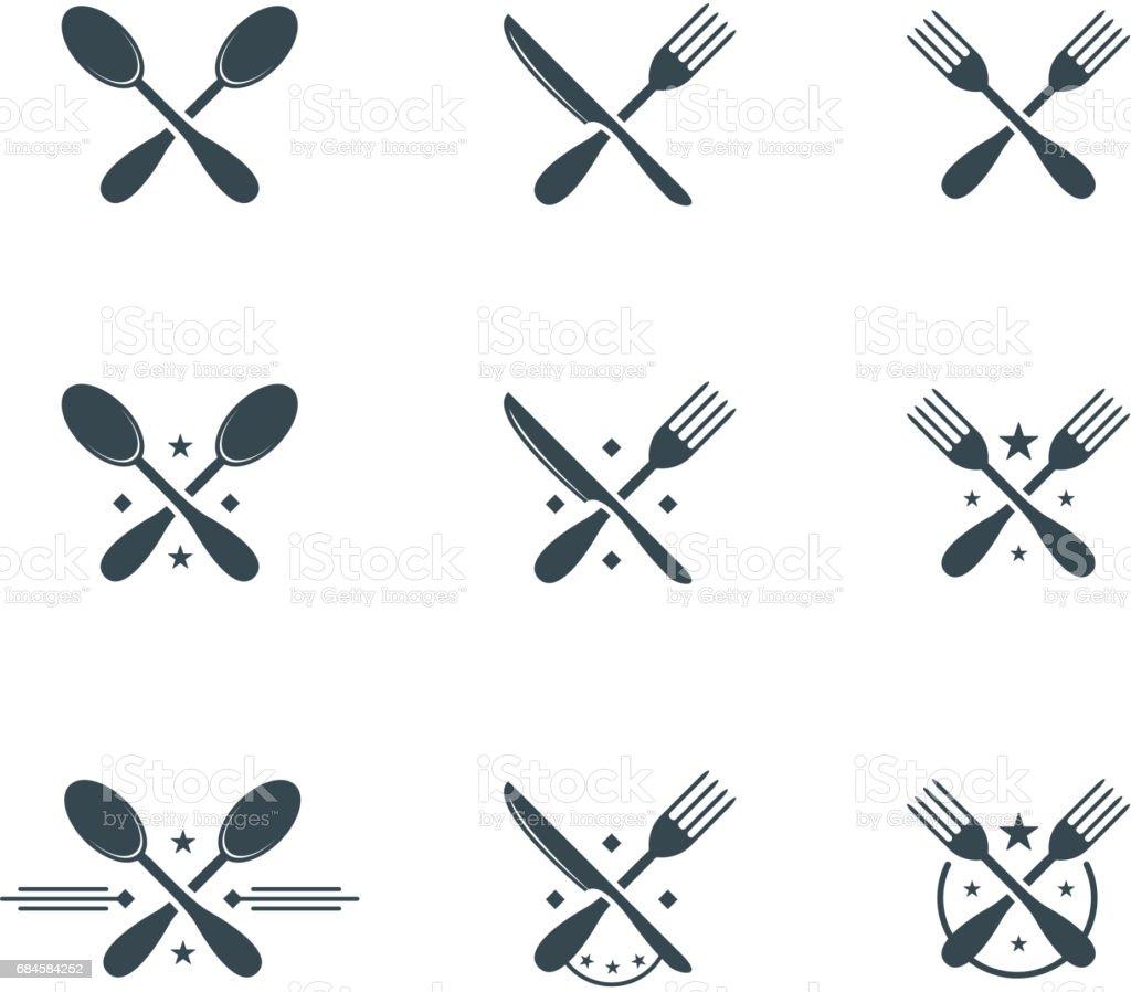 cutlery symbols vector art illustration