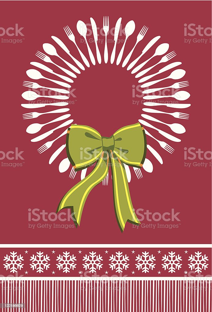 Cutlery wreath christmas background royalty-free stock vector art