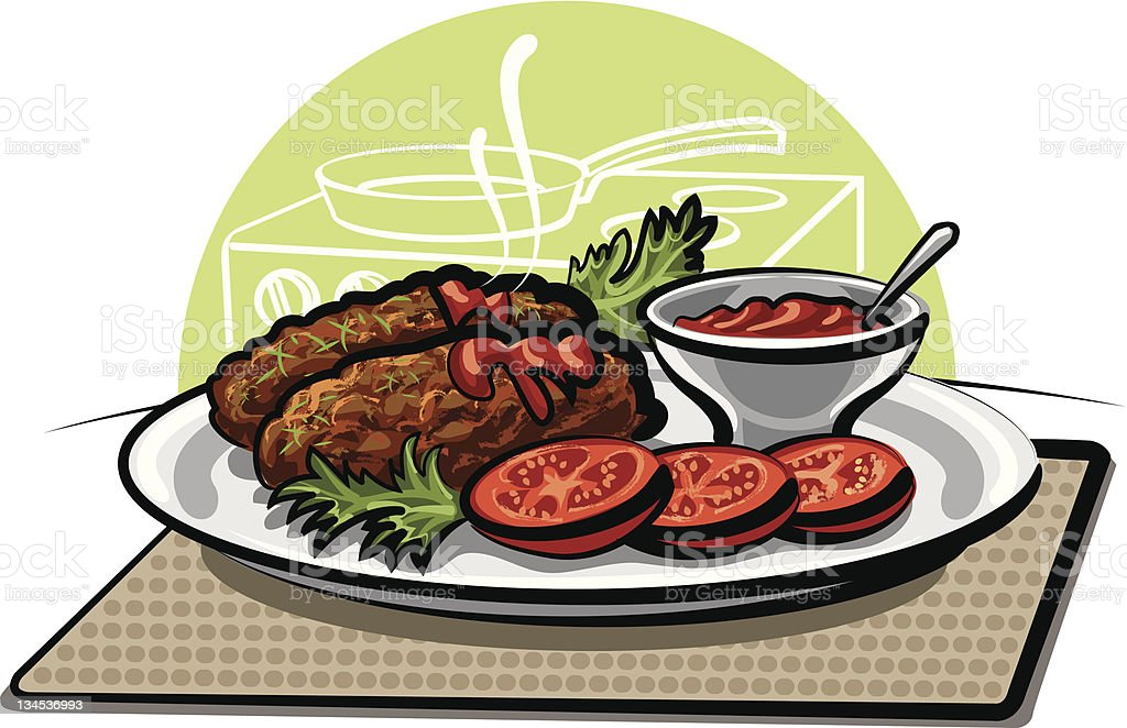 cutlets and sauce royalty-free stock vector art
