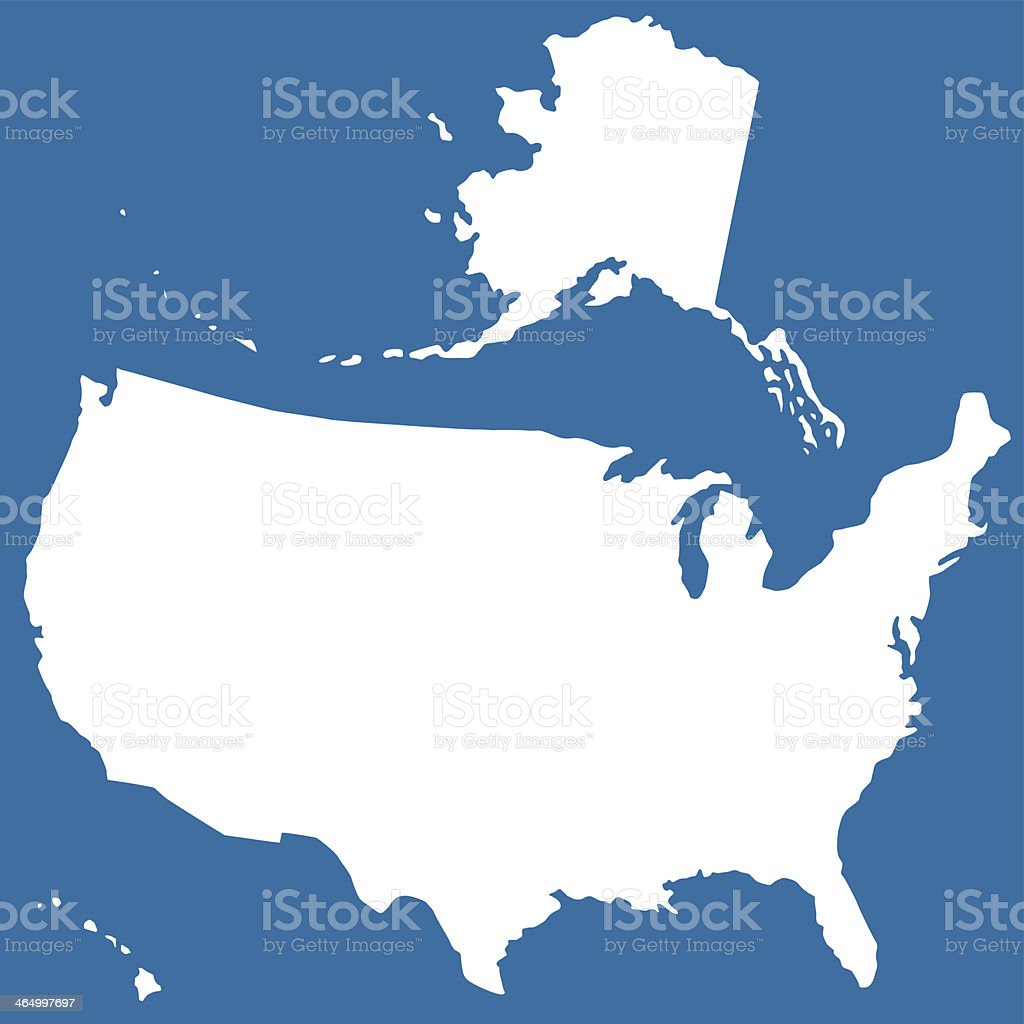 Cutout silhouette map of USA vector art illustration