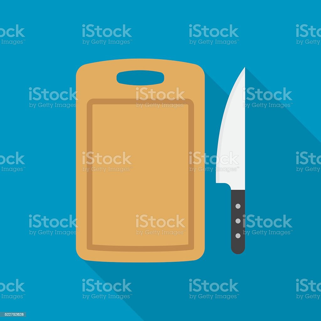 cutting board and knife vector art illustration