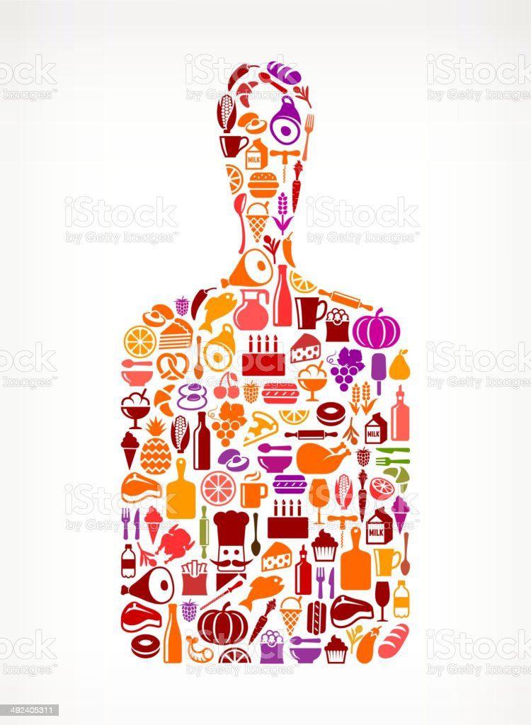 Cutting Board with Food & Drink Icons vector art illustration