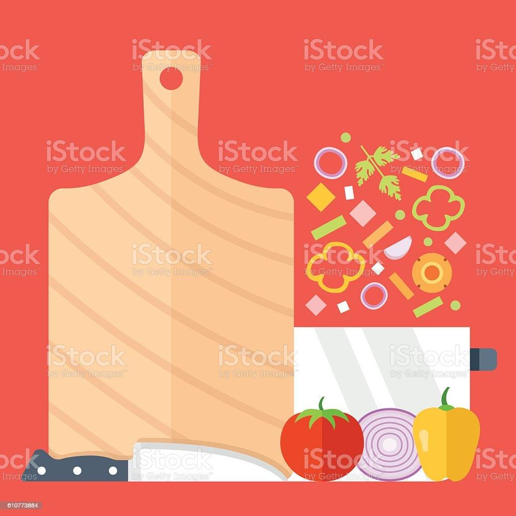 Cutting board, knife, saucepan and vegetables vector set. Flat design vector art illustration