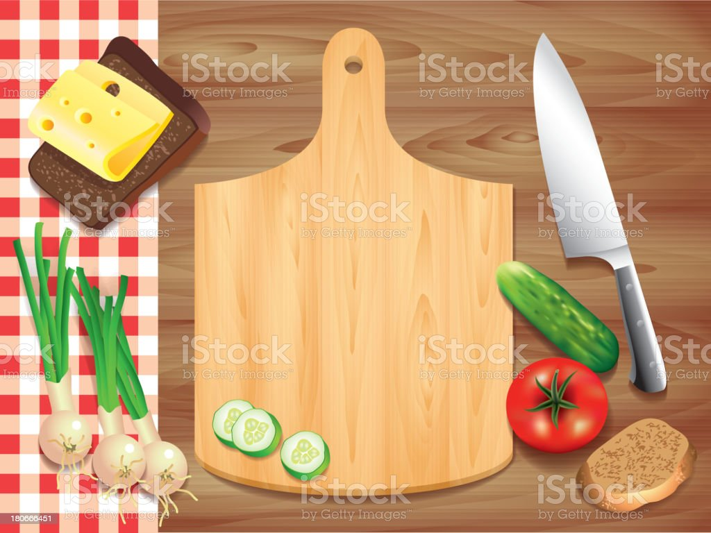 Cutting board on wooden table, food ingredients royalty-free stock vector art