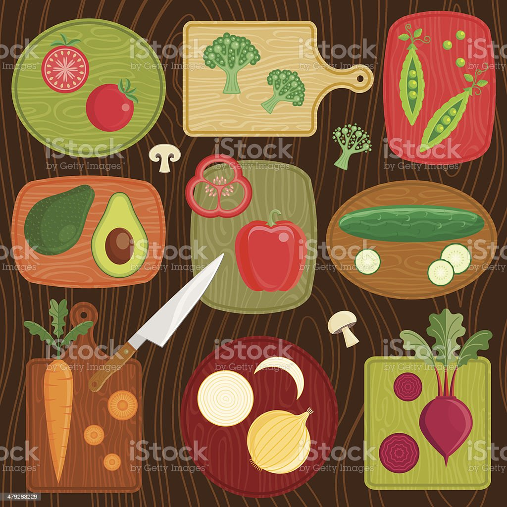 Cutting Board Vegetables vector art illustration