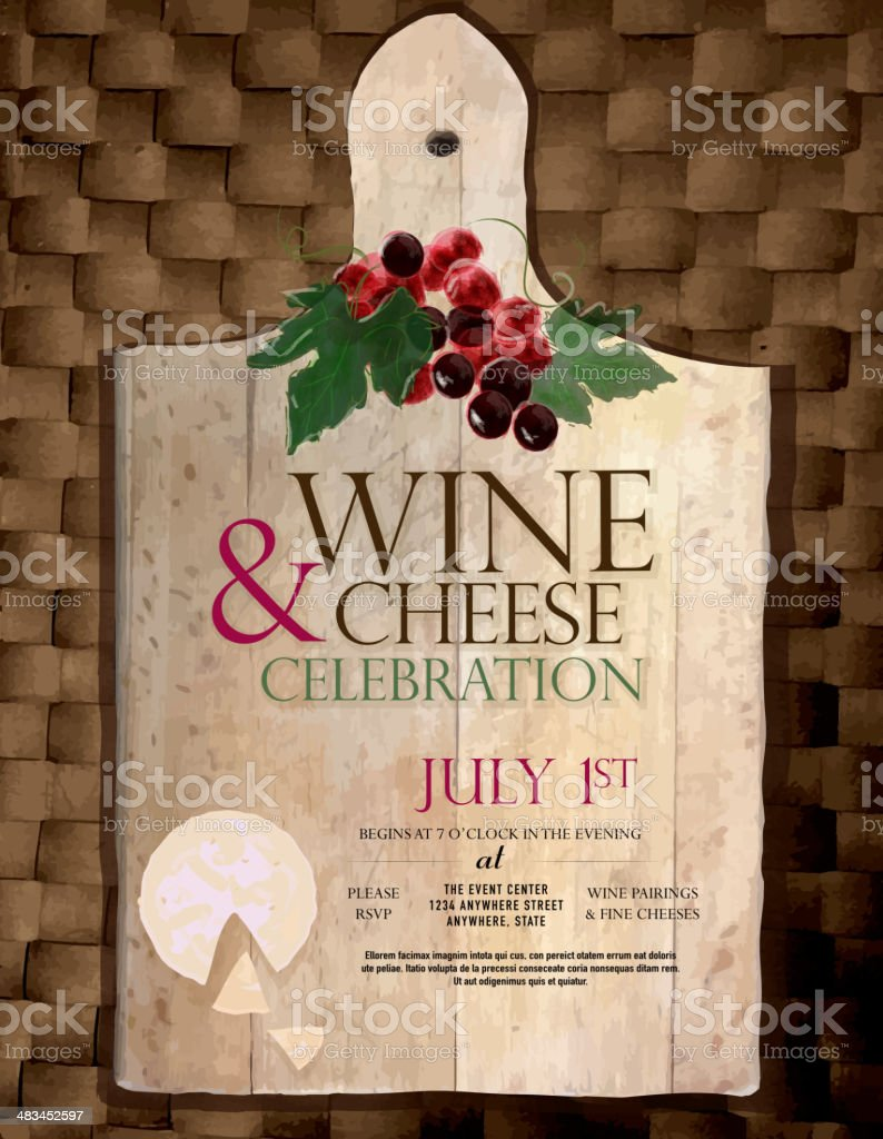 Cutting board Wine and cheese party invitation design template vector art illustration