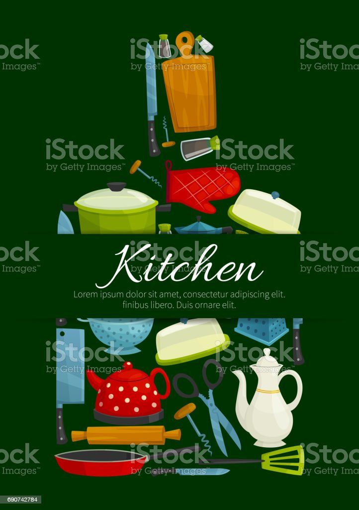 Cutting board with kitchen utensils poster vector art illustration