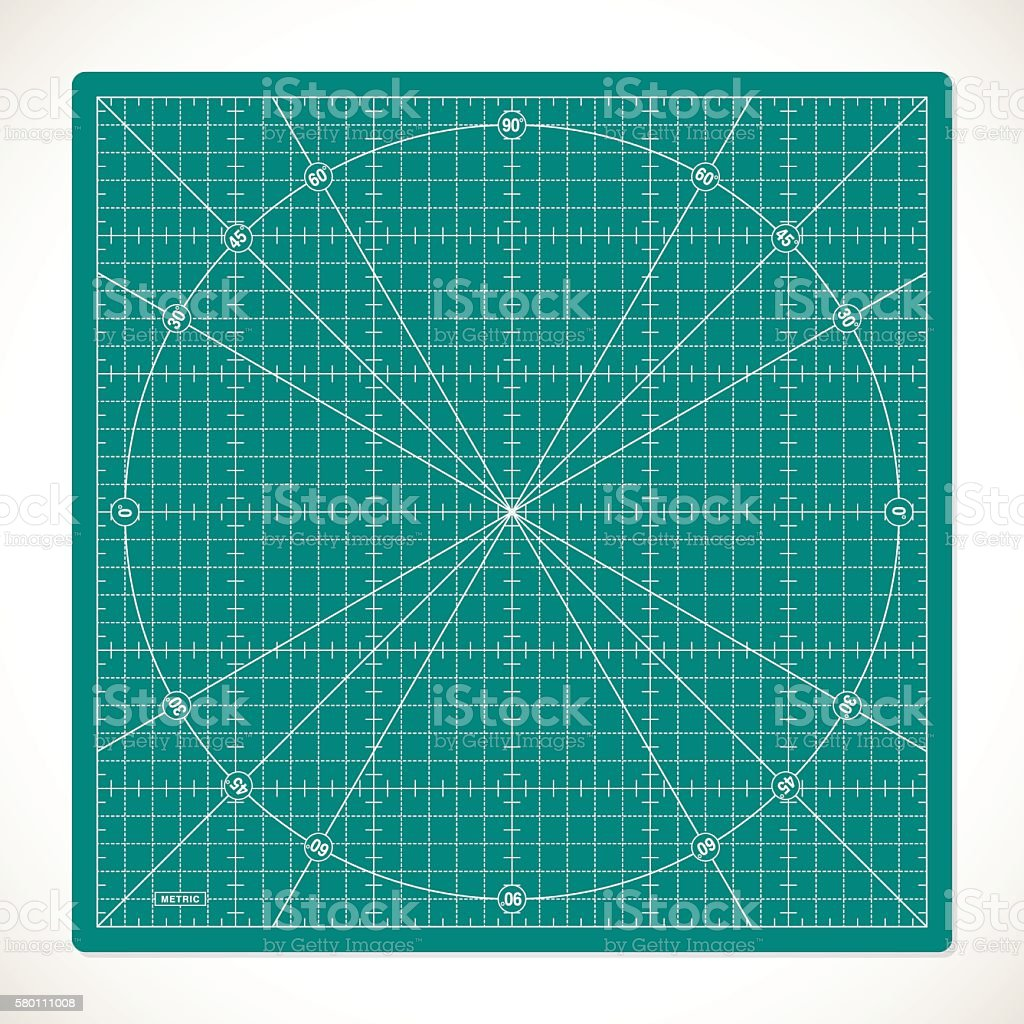 Cutting mat for quilting, patchwork and craft vector art illustration