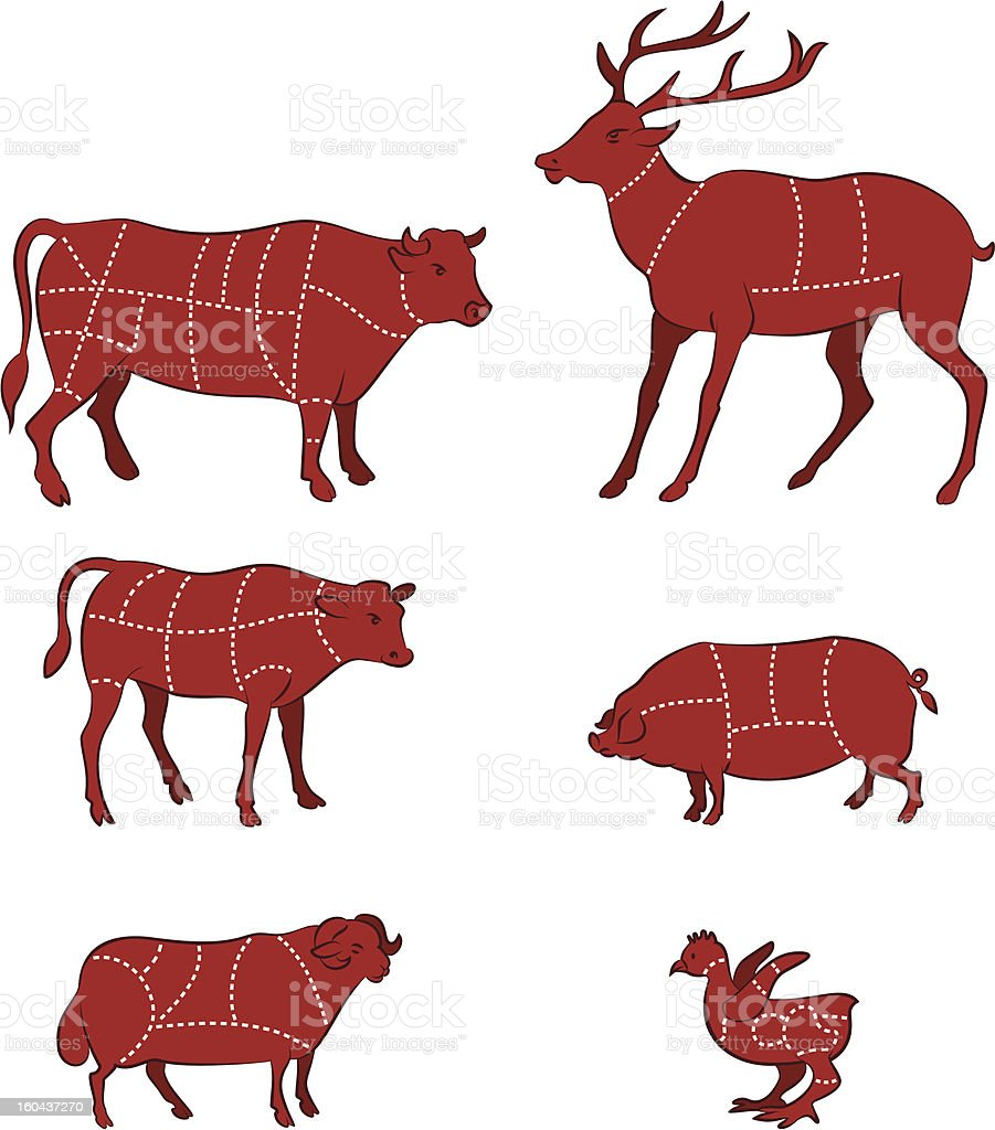 cutting meat diagram vector art illustration