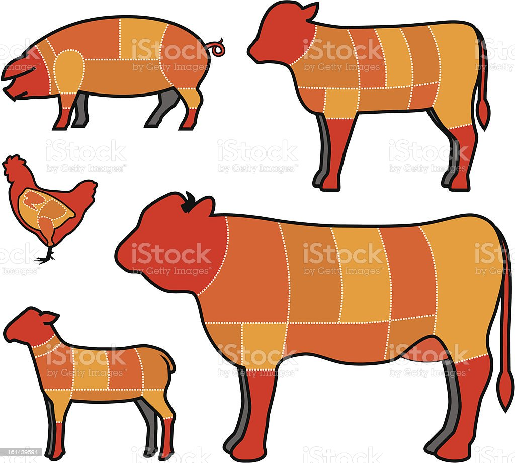 cutting meat royalty-free stock vector art