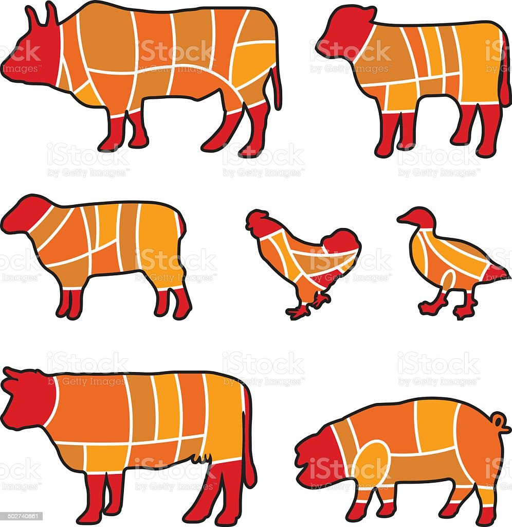 cutting meat vector art illustration