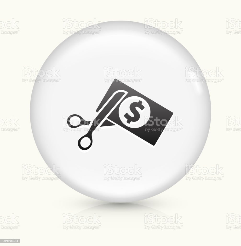 Cutting Money icon on white round vector button vector art illustration