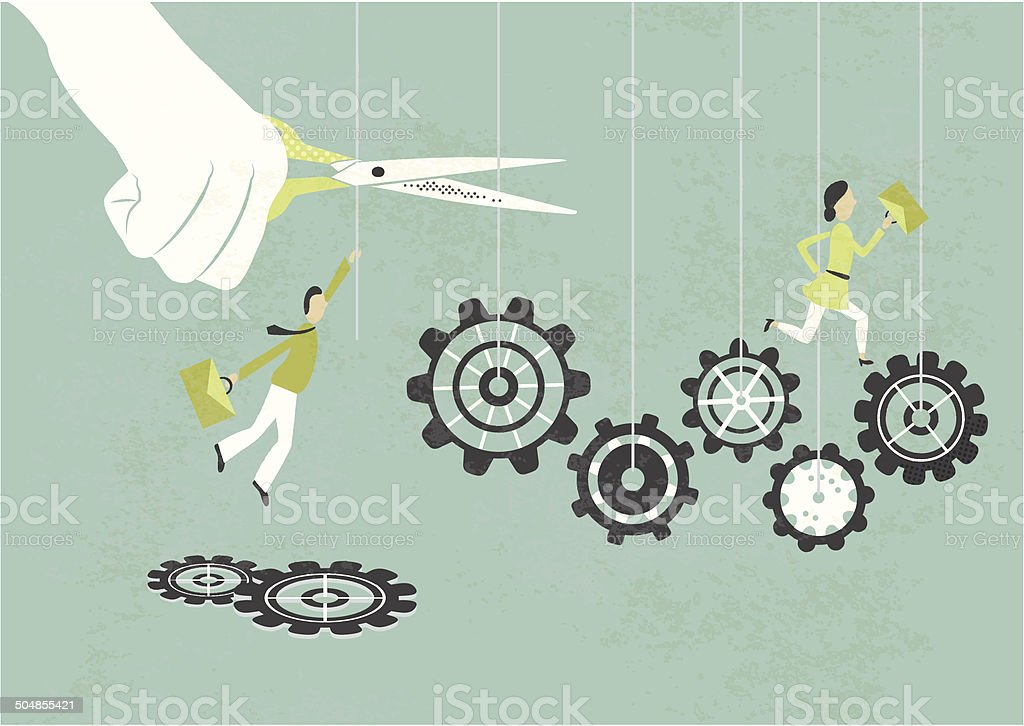 cutting staff vector art illustration