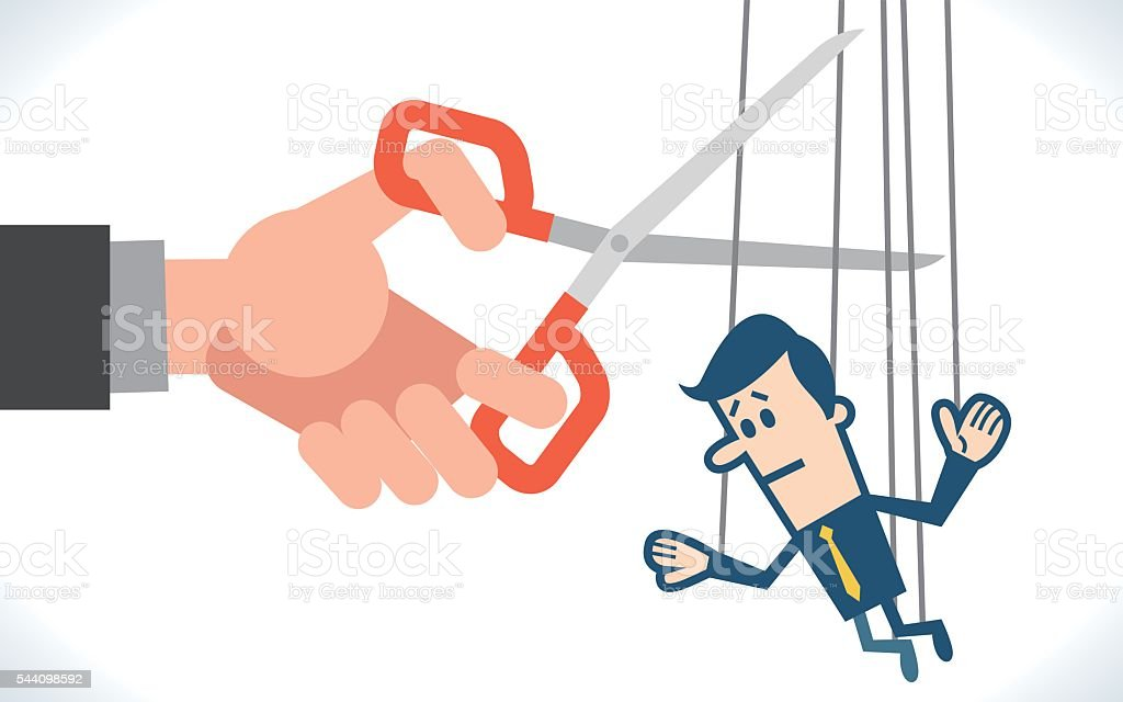Cutting the strings of a business man puppet vector art illustration