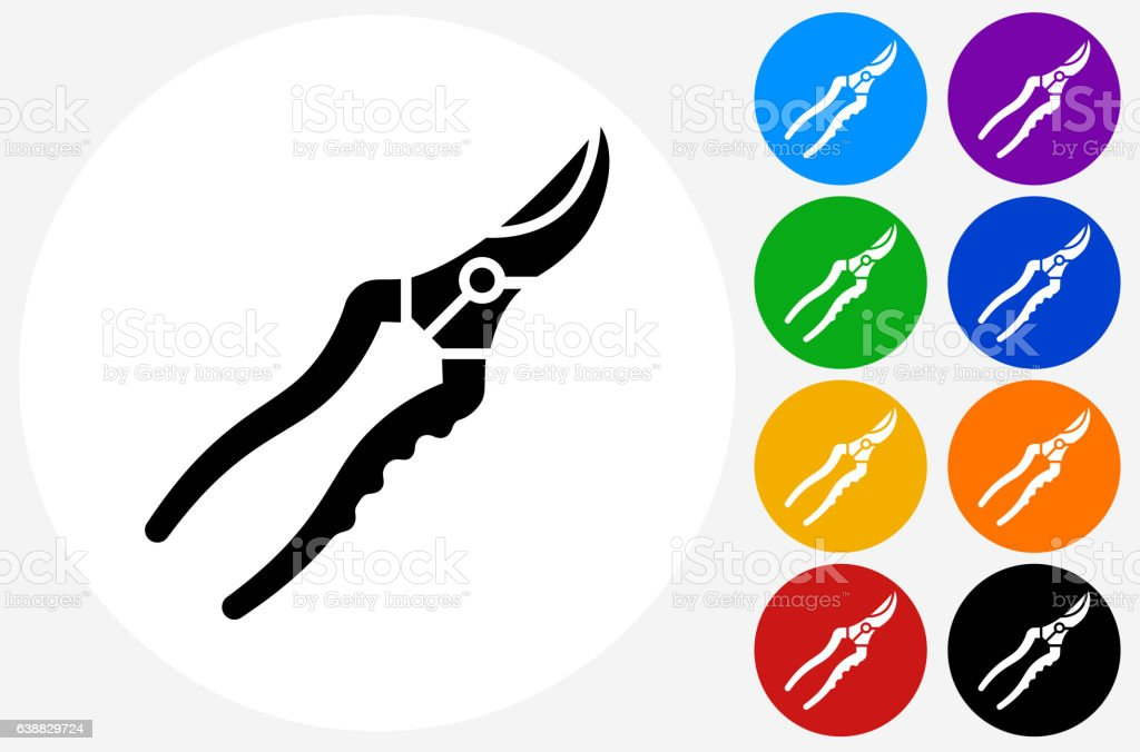 Cutting Tools Icon on Flat Color Circle Buttons vector art illustration