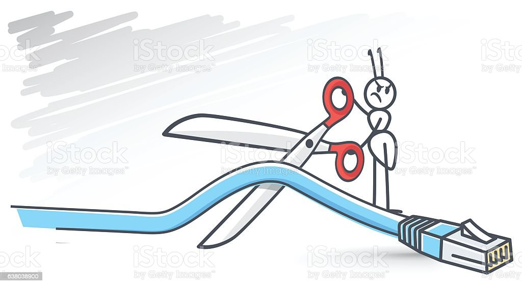 cutting your internet connection vector art illustration
