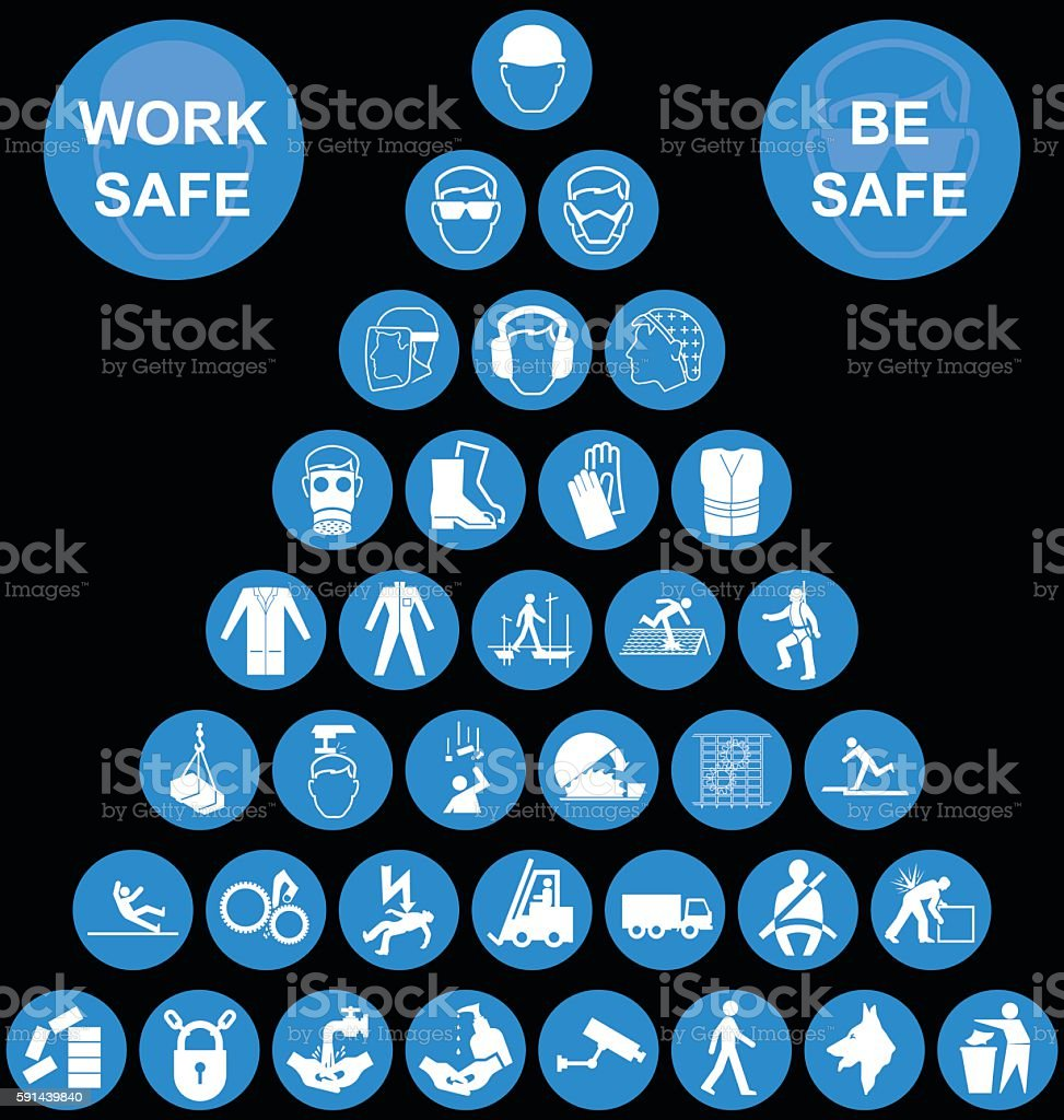 Cyan Pyramid Health and Safety Icon collection vector art illustration