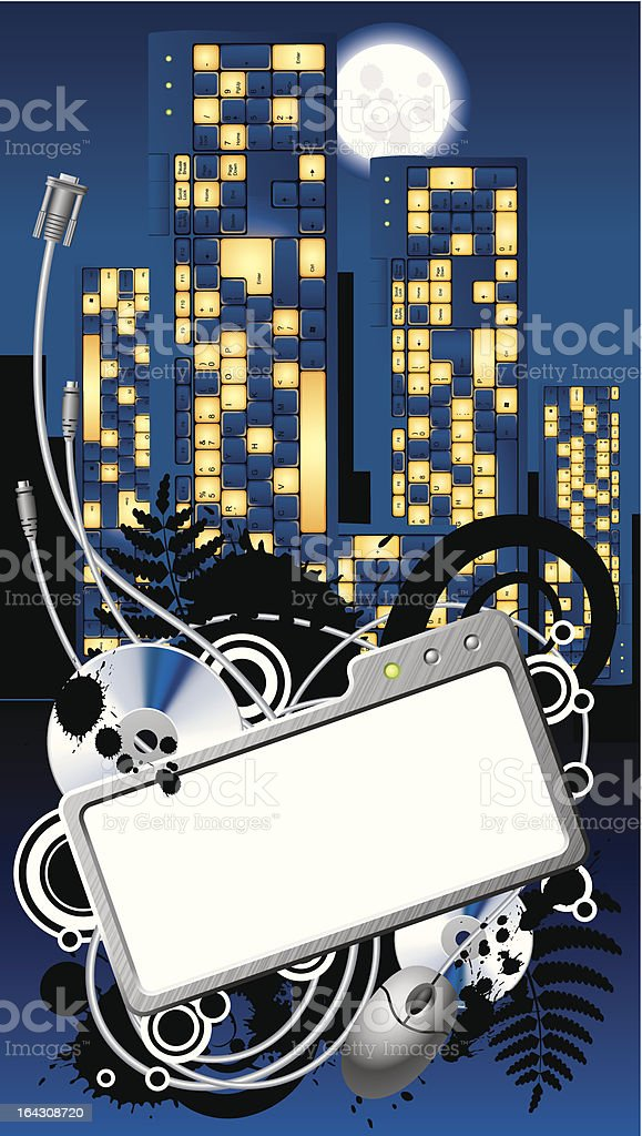 Cyber City banner royalty-free stock vector art