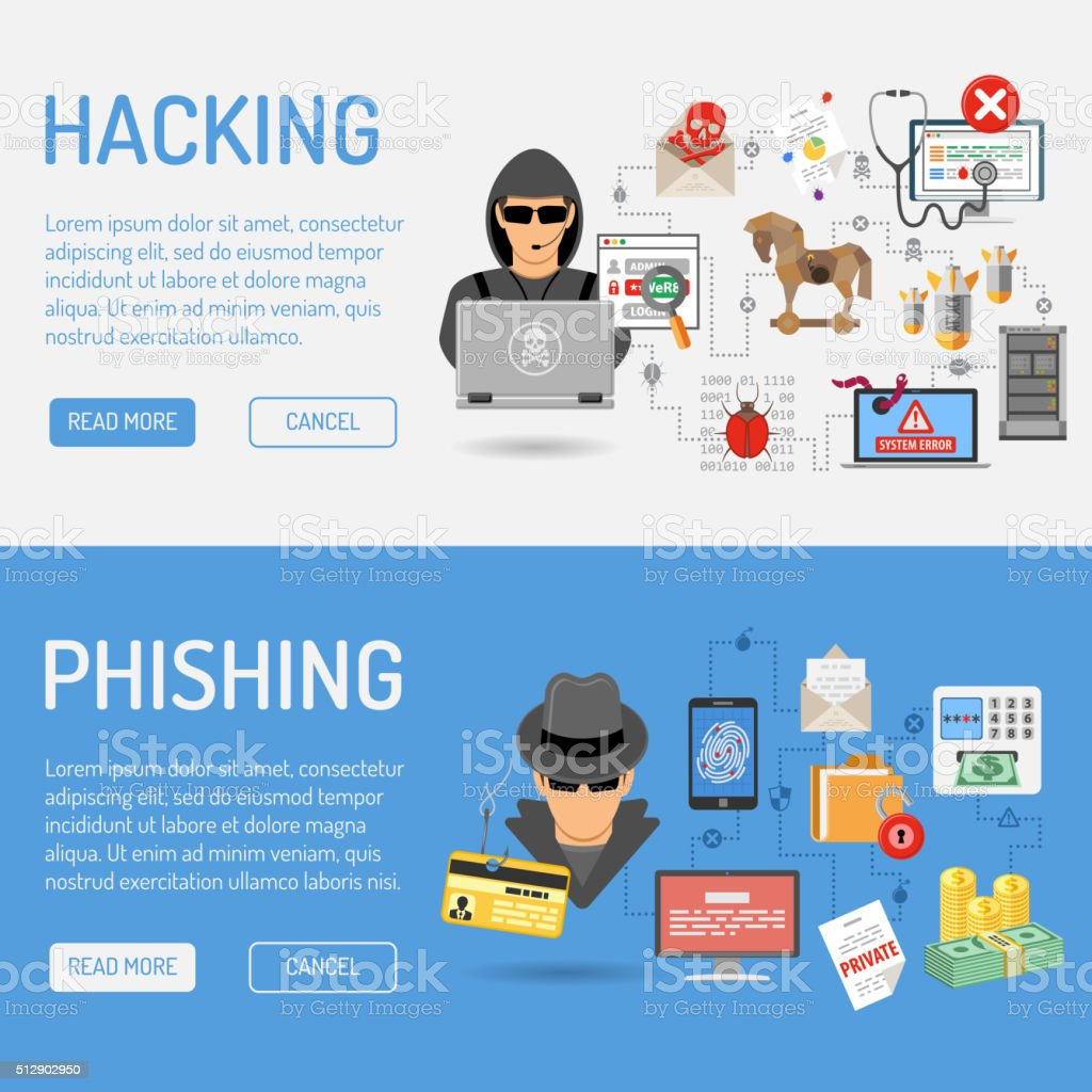 Cyber Crime Banners vector art illustration