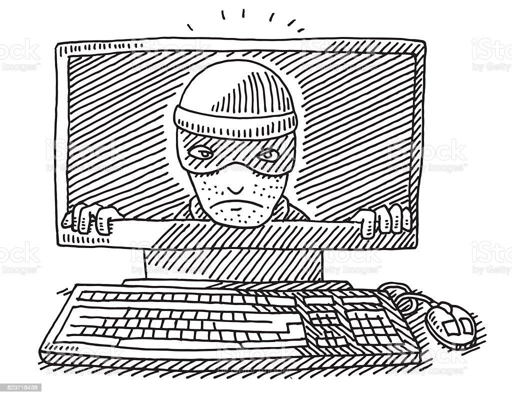 Cyber Crime Concept Desktop Computer Drawing vector art illustration