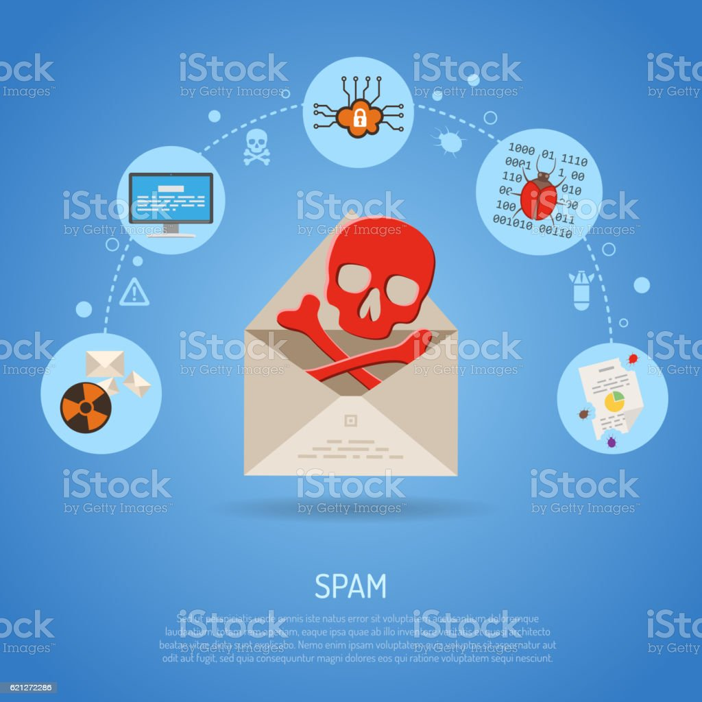 Cyber Crime Concept with Email Spam vector art illustration