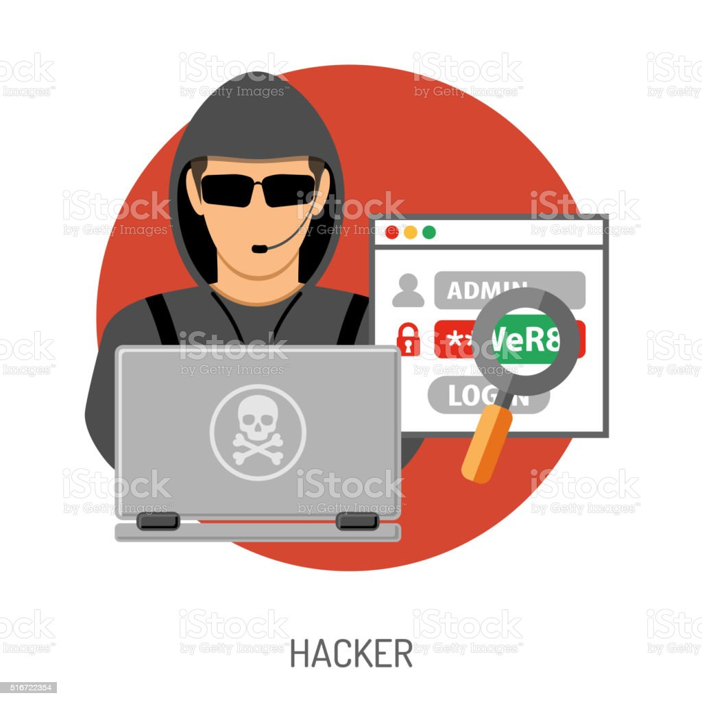 Cyber Crime Concept with Hacker vector art illustration