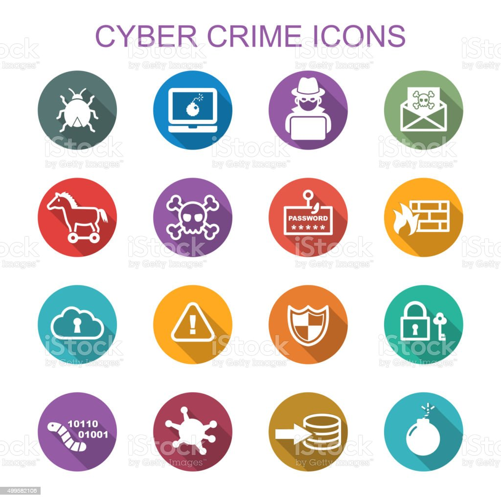 cyber crime long shadow icons vector art illustration