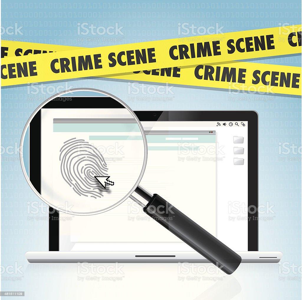 Cyber crime scene vector art illustration