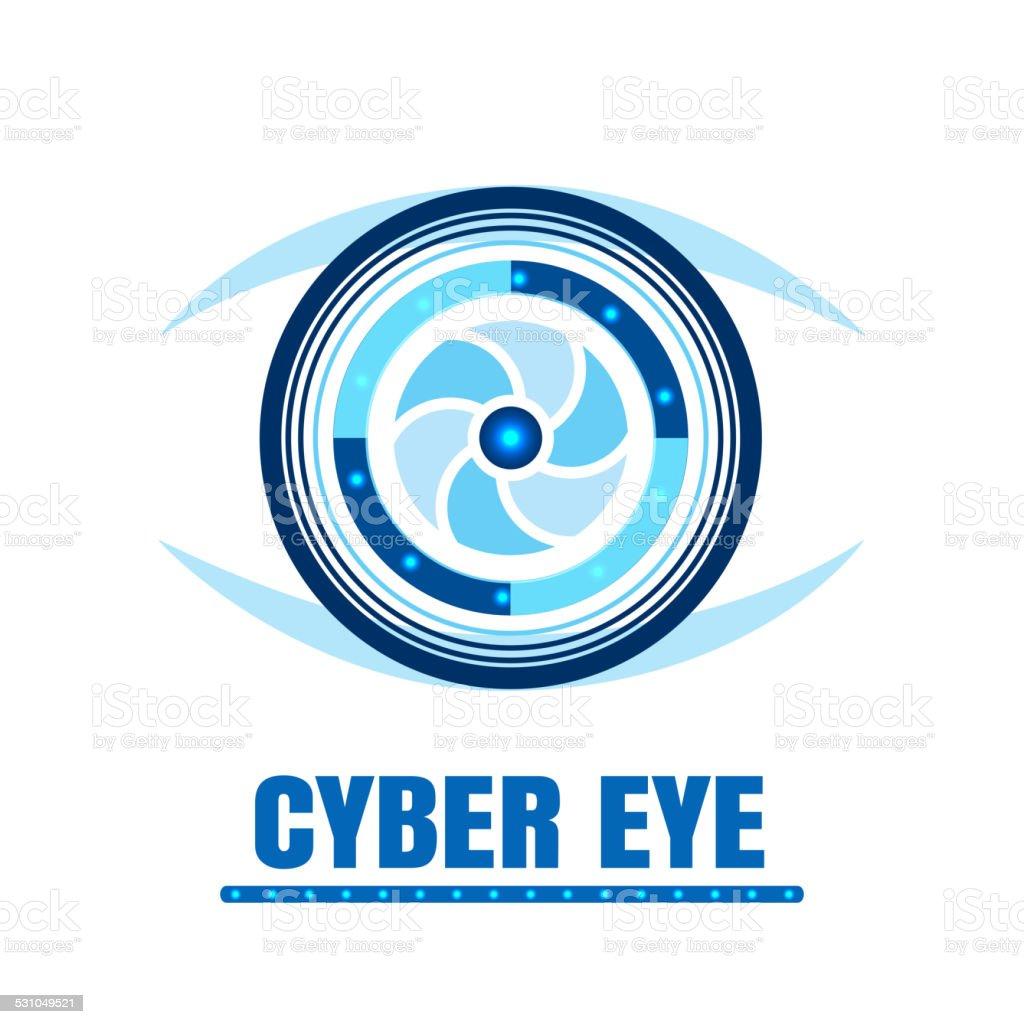 Cyber eye icon vector vector art illustration