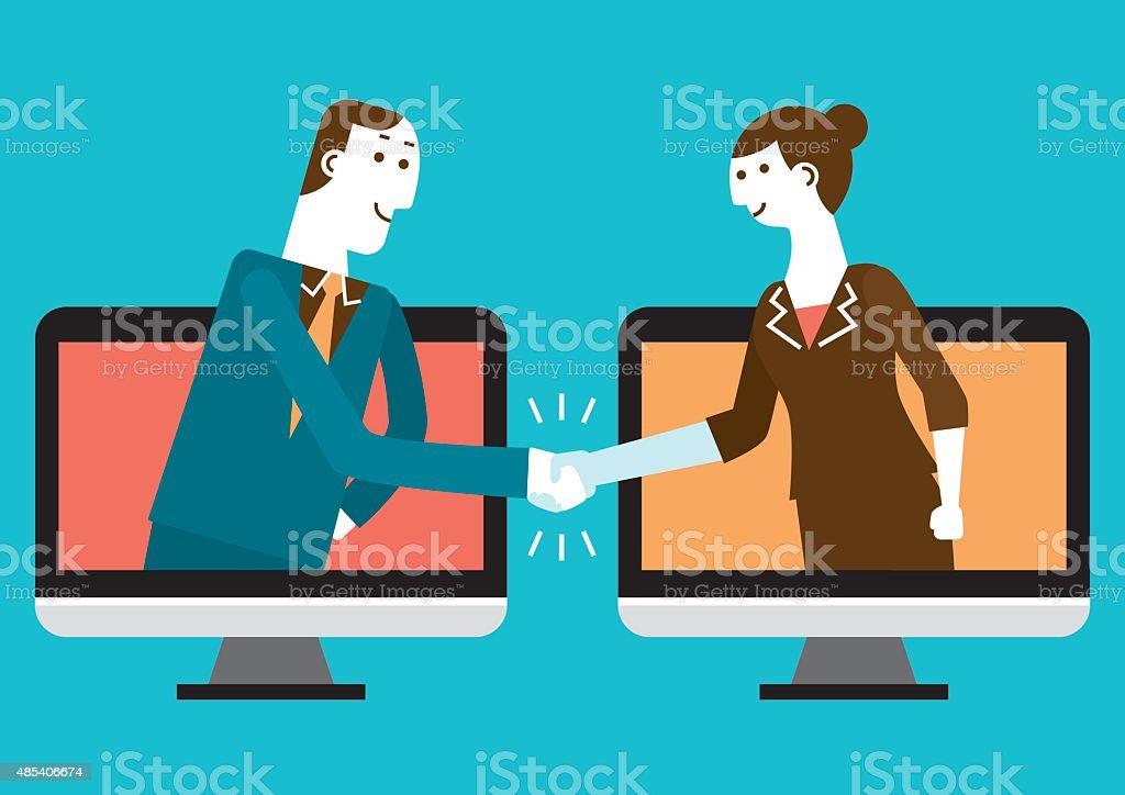 Cyber Handshake & Business | New Biz Concept vector art illustration
