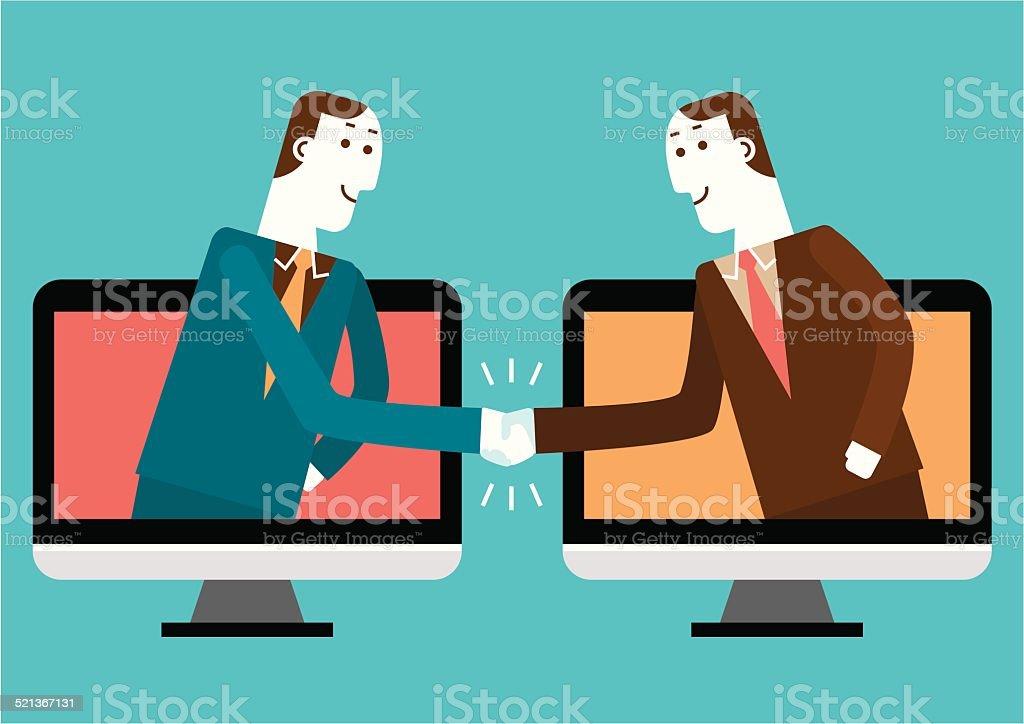 Cyber Handshake & Business   New Biz vector art illustration