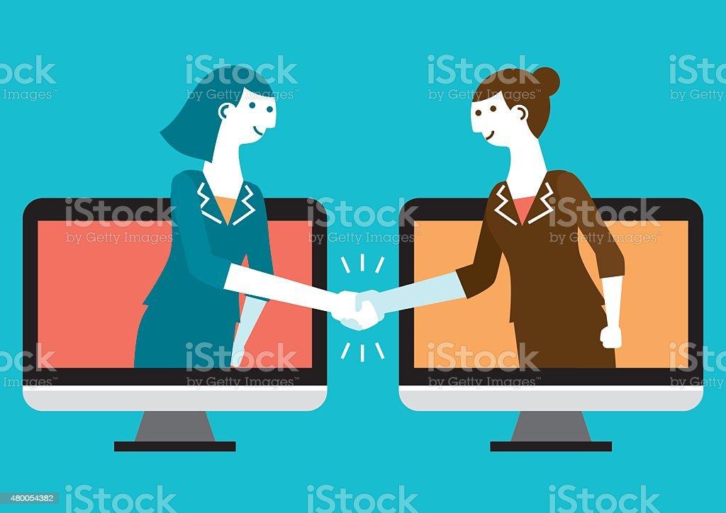 Cyber Handshake & Business   New Business Concept vector art illustration