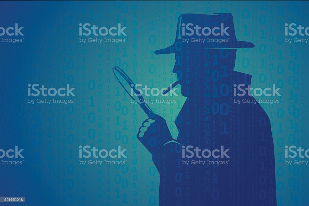 Cyber inspector looking through magnifying lens vector art illustration