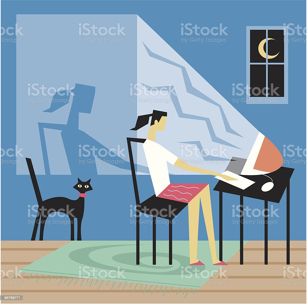 Cyber late night royalty-free stock vector art