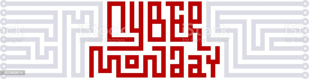 Cyber Monday Lettering with Circuit Board vector art illustration