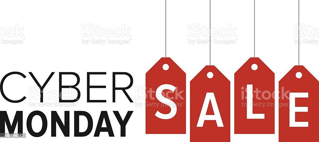 Cyber Monday sale website display with red hang tags promotion vector art illustration