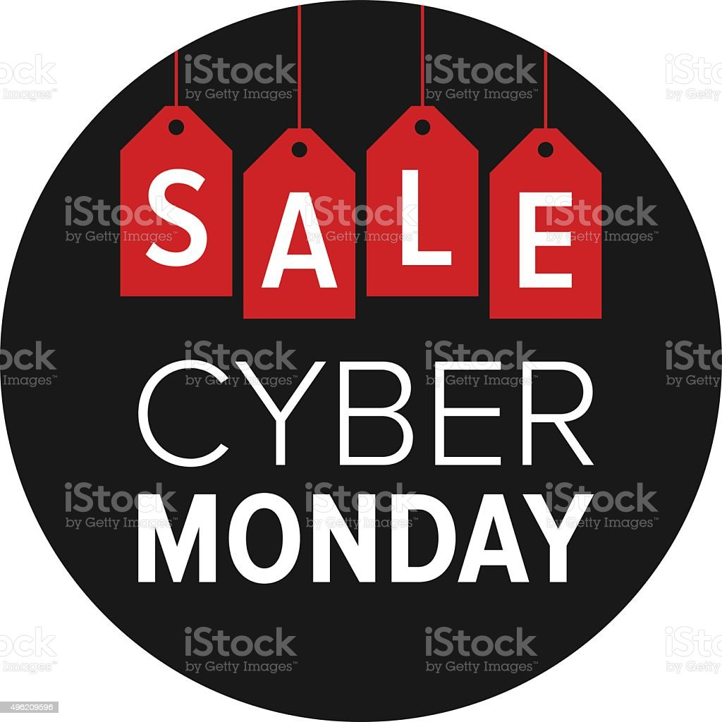 Cyber Monday sale website display with red hang tags vector vector art illustration