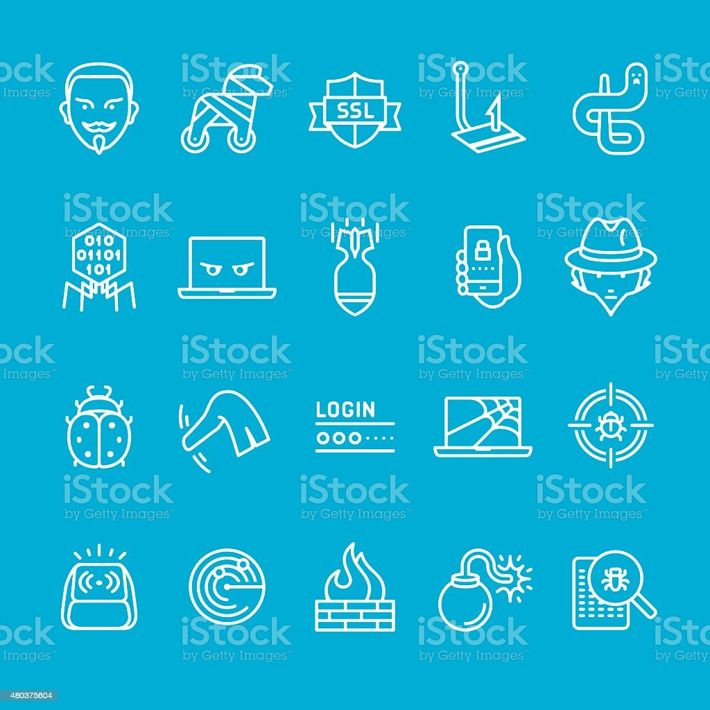 Cyber security software icons collection vector art illustration